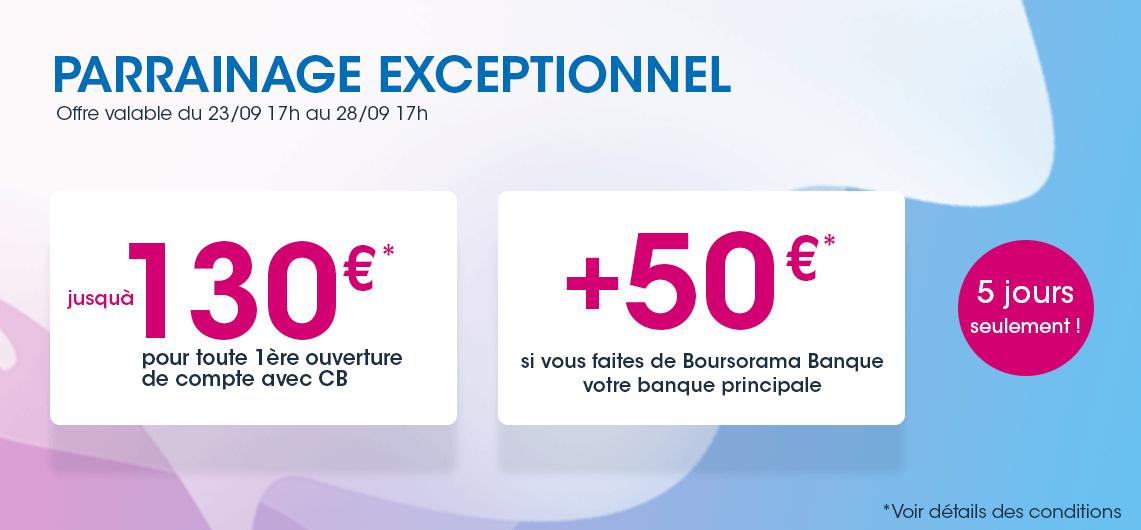 230€ offerts pour l'ouverture d'un compte Boursorama Banque via un parrain jusqu'au 12 novembre 2020