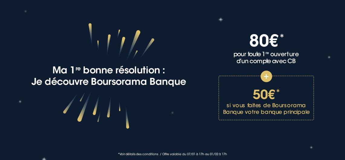 170€ offerts pour l'ouverture d'un compte Boursorama Banque via un parrain jusqu'au 1er février 2021
