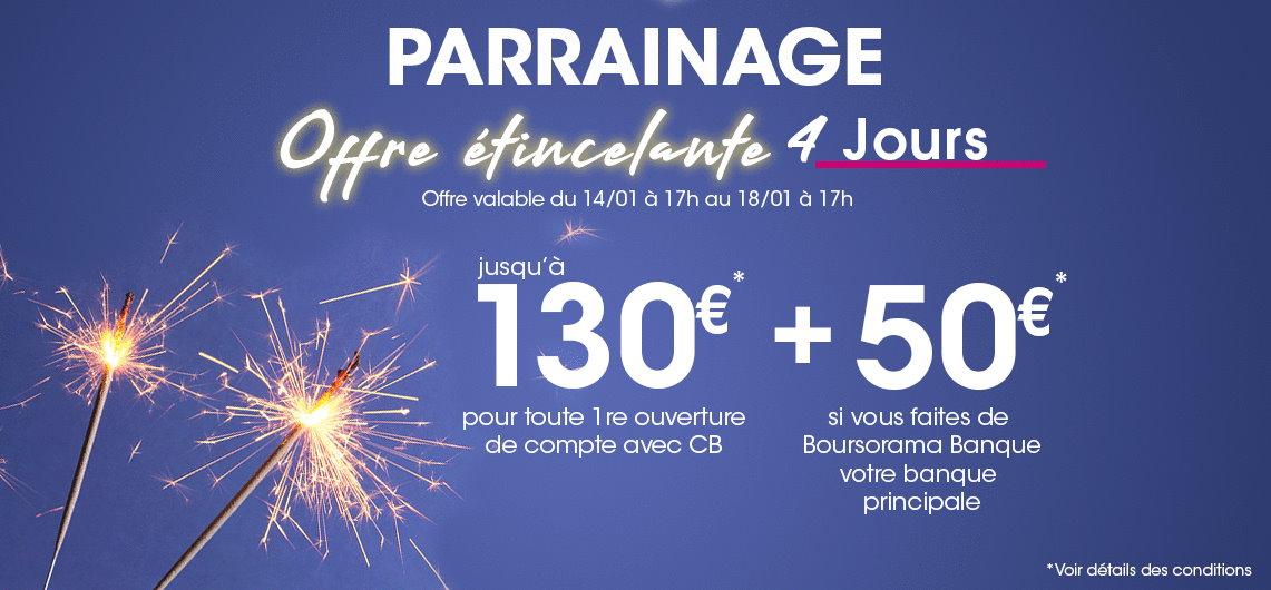 230€ offerts pour l'ouverture d'un compte Boursorama Banque via un parrain jusqu'au 18 janvier 2021