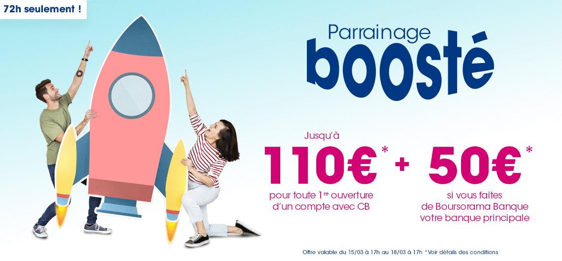 200€ offerts pour l'ouverture d'un compte Boursorama Banque via un parrain jusqu'au 18 mars 2021