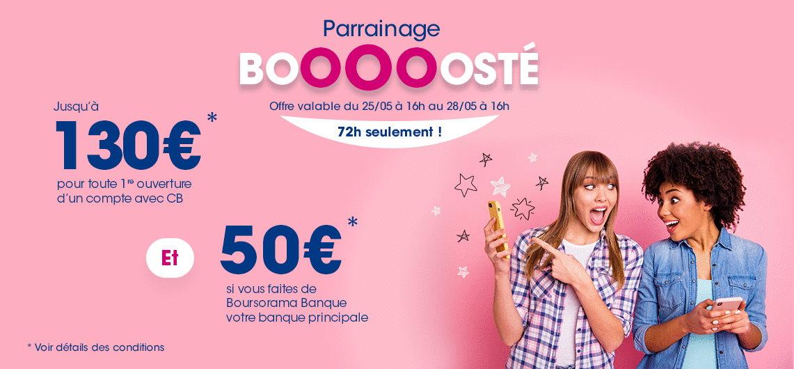 230€ offerts pour l'ouverture d'un compte Boursorama Banque via un parrain jusqu'au 28 mai 2021